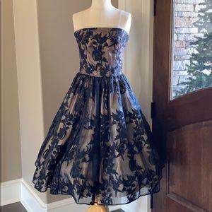 Black floral overlay dress